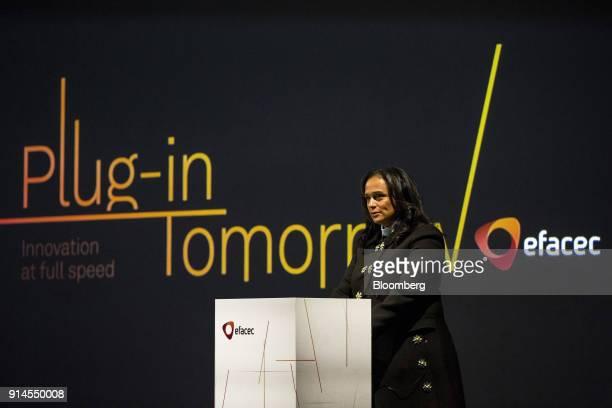 Isabel dos Santos billionaire and former chairman of Sonangol HoldingSociedade Nacional de Combustiveis de Angola EP attends the inauguration of...