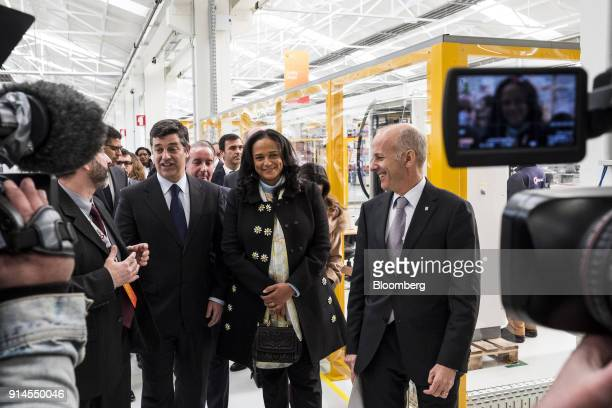 Isabel dos Santos, billionaire and former chairman of Sonangol Holding-Sociedade Nacional de Combustiveis de Angola EP, second right, and Manuel...