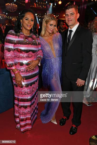Isabel dos Santos Paris Hilton and Chris Zylka attend the de Grisogono party during the 71st annual Cannes Film Festival at Villa des Oliviers on May...