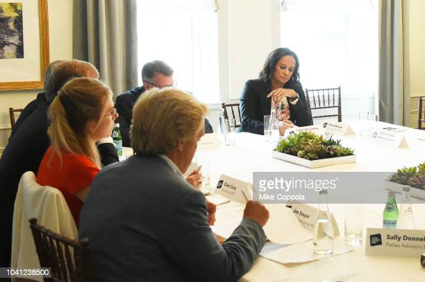Isabel dos Santos participates in a roundtable discussion on Business Evolution In Energy at Bloomberg Global Business Forum at The Plaza Hotel on...