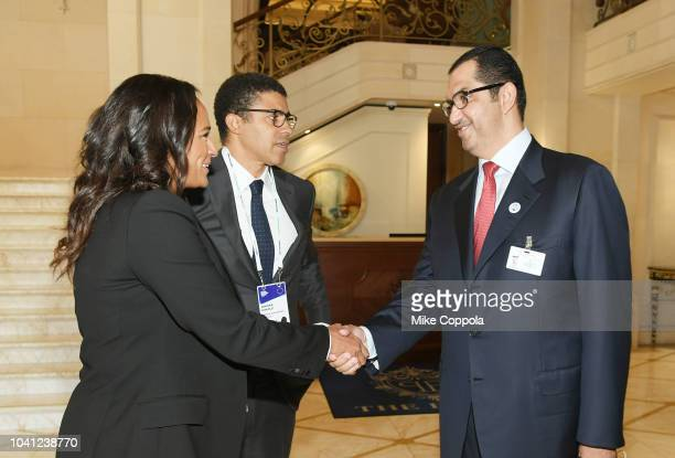 Isabel dos Santos Sindika Dokolo and Sultan Ahmed Al Jaber meet before a roundtable discussion on Business Evolution In Energy at Bloomberg Global...