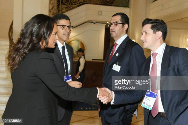 Isabel dos Santos, Sindika Dokolo, Sultan Ahmed Al Jaber, and Omar Zaafrani meet before a roundtable discussion on Business Evolution In Energy at...