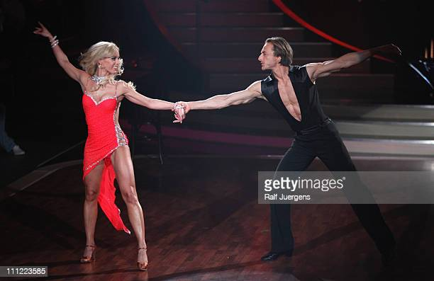 Isabel Edvardsson and Tim Lobinger perform during the 'Let's Dance' TV show at Coloneum on March 30 2011 in Cologne Germany