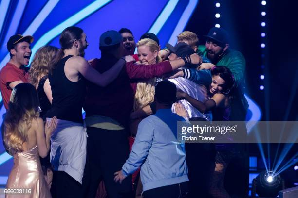Isabel Edvardsson announces her pregnancy during the 4th show of the tenth season of the television competition 'Let's Dance' on April 7 2017 in...
