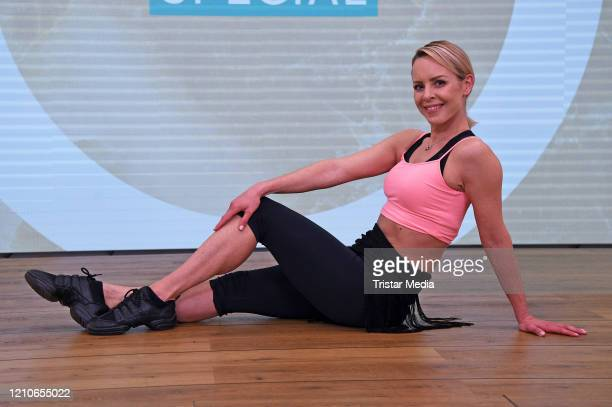 Isabel Edvardsson is doing a Cyberobics LiveWorkout to stay fit during the Coronavirus crisis at John Reed gym on April 22 2020 in Berlin Germany