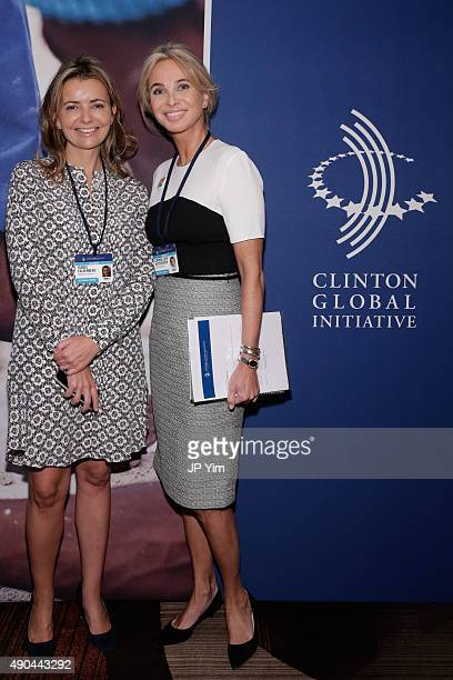 Isabel Falkenberg CEO Walkabout Foundation and Corinna SaynWittgenstein Strategic Advisor at CGI attend the CGI at the Opening Plenary Session The...