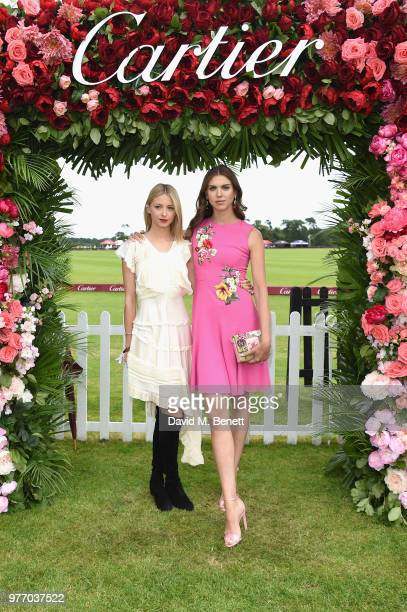 Isabel Getty and Lady Sabrina Percy attend the Cartier Queen's Cup Polo at Guards Polo Club on June 17 2018 in Egham England