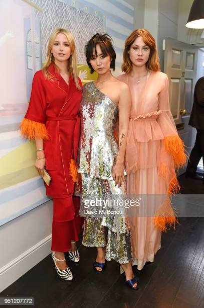 Isabel Getty Betty Bachz and Martine Lervik attend the House Of Osman launch party supported by Peroni Ambra on April 25 2018 in London England
