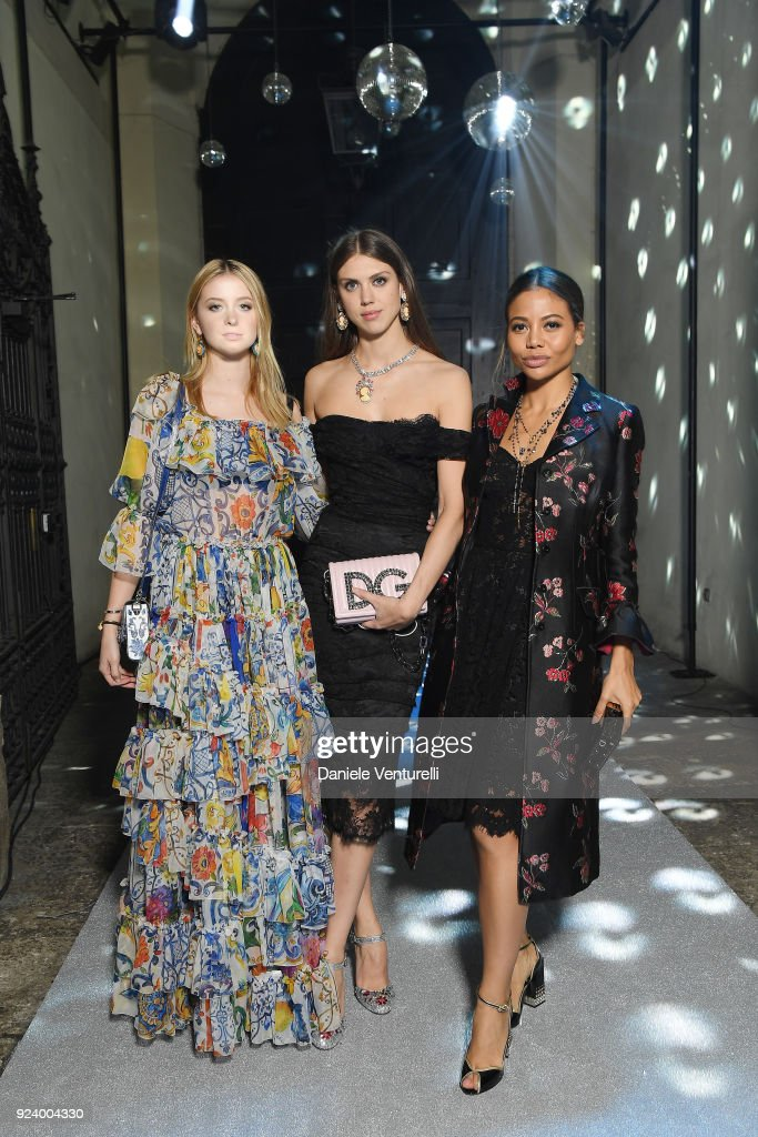 Isabel Getty, Sabrina Percy and Emma Thynn attend the Dolce & Gabbana Secret & Diamond show during Milan Fashion Week Fall/Winter 2018/19 on February 24, 2018 in Milan, Italy.