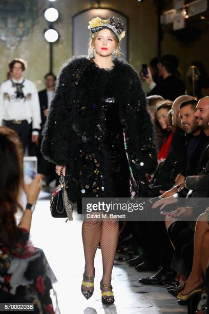 Isabel Getty walks the Dolce Gabbana Italian Christmas catwalk show at Harrods on November 2 2017 in London England