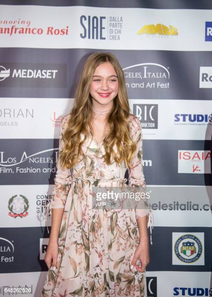 Isabel Gravitt enters the red carpet at finale of the 12th Los Angeles Italia Film Festival on Friday February 24 2017 in Los Angeles California /...