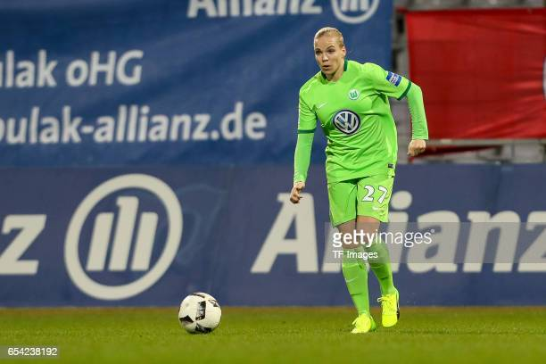 Isabel Kerschowski of Wolfsburg controls the ball during the Women's DFB Cup Quarter Final match between FC Bayern Muenchen and VfL Wolfsburg at the...