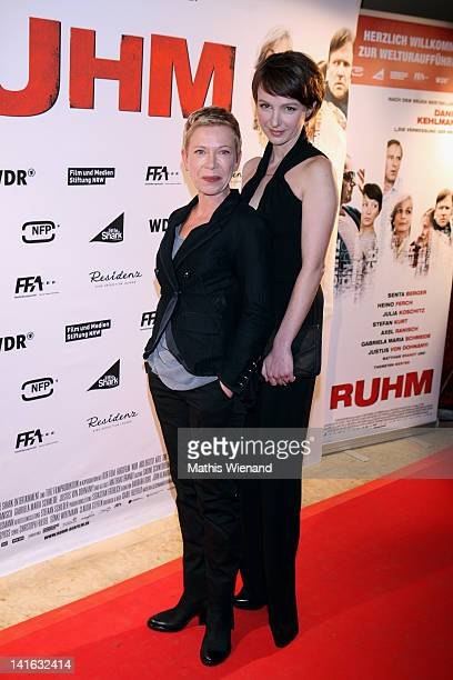 Isabel Kleefeld and Julia Koschitz attend the 'Ruhm' Germany Film Premiere at 'Residenz eine astor Film Lounge' on March 20 2012 in Cologne Germany