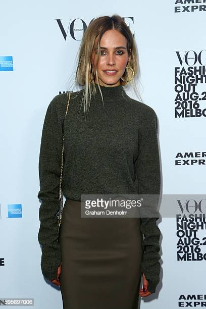 Isabel Lucas poses as she arrives for Vogue American Express Fashion's Night Out on August 26 2016 in Melbourne Australia