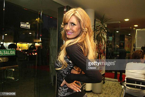 Isabel Madow poses during the unveiling of the plaque for 19 years of the play The La Dama de Negro at the Julio Prieto Theatre on June 29 2013 in...
