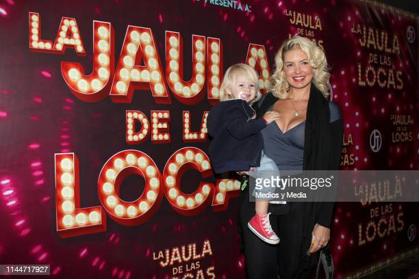 Isabel Madow poses for photos during the premiere and pink carpet of the 'La Jaulas de las Locas' play at Teatro Hidalgo on April 16 2019 in Mexico...