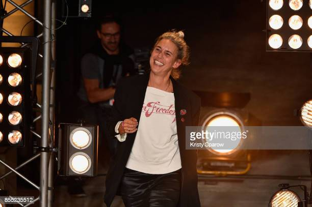 Isabel Marant is applauded on the runway during the Isabel Marant show as part of the Paris Fashion Week Womenswear Spring/Summer 2018 on September...