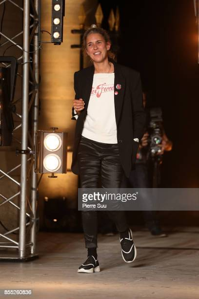 Isabel Marant is seen on the runway during the Isabel Marant show as part of the Paris Fashion Week Womenswear Spring/Summer 2018 on September 28,...