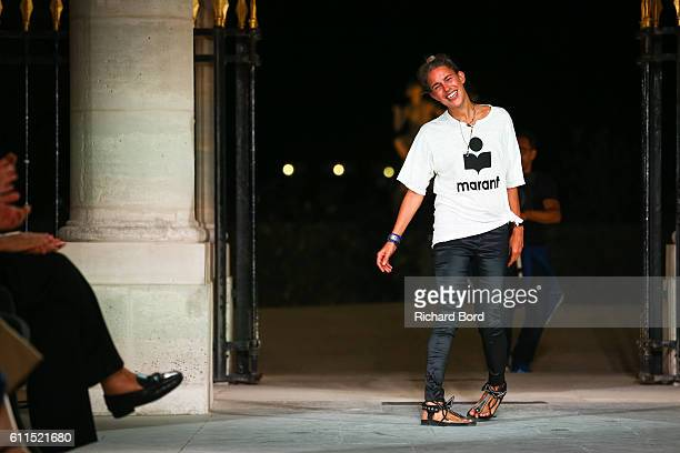 Isabel Marant walks the runway during the Isabel Marant show as part of the Paris Fashion Week Womenswear Spring/Summer 2017 on September 29, 2016 in...