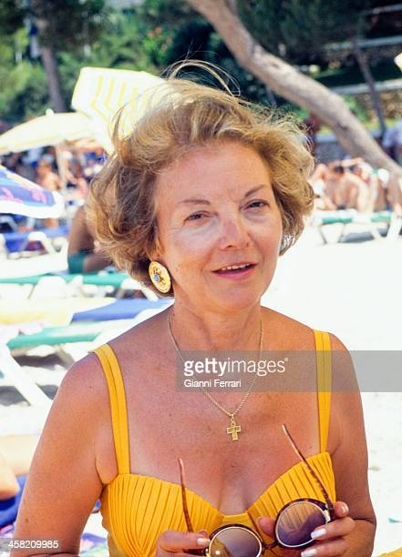 Isabel Martinez de Peron former president of Argentina on holidays in Cala Galdana Menorca Balearic Islands Spain