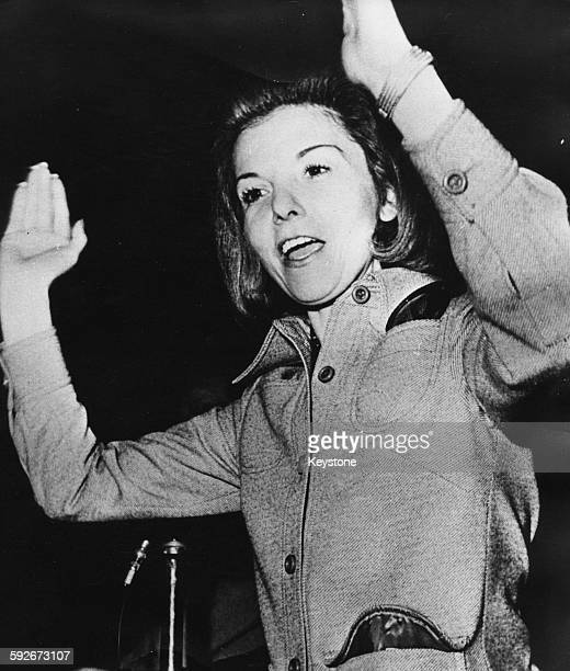 Isabel Martinez de Peron wife of President Juan Peron of Argentina gesturing as he speaks publicly circa 1976
