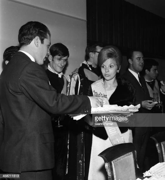 Isabel Martinez of Peron wife of Juan Domingo Peron during a party at her house in Madrid Madrid Spain