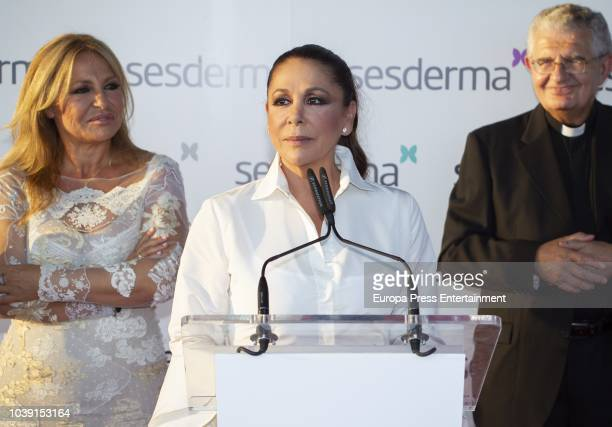 Isabel Pantoja and Cristina Tarrega attend the presentation of Isabel Pantoja as godmother for Sesderma Cosmetic brand on September 21 2018 in...