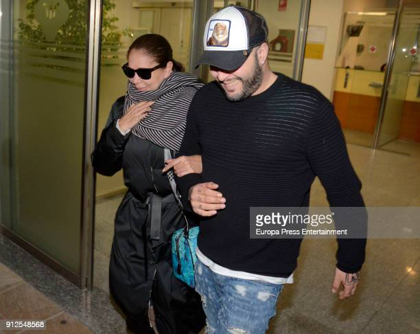 Isabel Pantoja and her son Kiko Rivera visit Irene Rosales at hospital after giving birth to Carlota Rivera on January 30 2018 in Seville Spain
