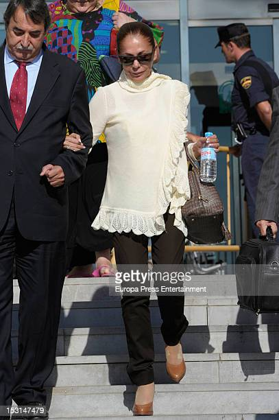 Isabel Pantoja attends the Malaga court on the first day of the trial for alleged money-laundering and embezzlement on October 1, 2012 in Malaga,...