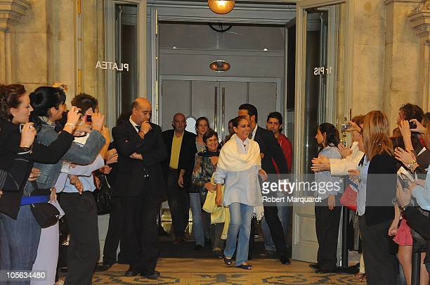 Isabel Pantoja greets her supporters after finishing a performance of her 'Asi es la vida' show at the Theater Coliseum on October 15 2010 in...