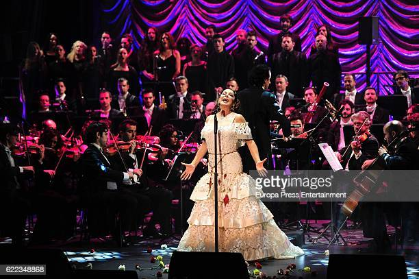Isabel Pantoja performs during the launching of her new album 'Hasta Que Se Apague El Sol', composed by the mexican song writer Juan Gabriel, who...