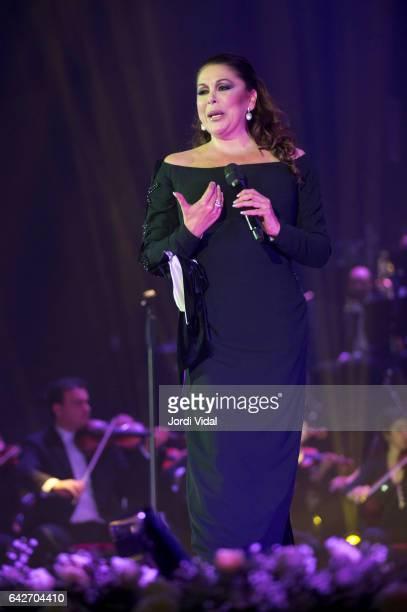 Isabel Pantoja performs on stage at Palau Sant Jordi on February 18, 2017 in Barcelona, Spain.