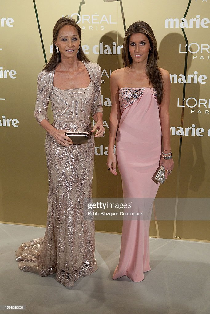 Isabel Preysler (L) and daughter Ana Boyer (R) attend Marie Claire Prix de la Moda Awards 2012 at French Embassy on November 22, 2012 in Madrid, Spain.