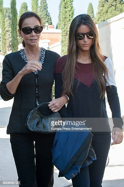 Isabel Preysler and her daughter Ana Boyer visit Miguel Boyer's grave at Ermita de San Isidro Cemetery on September 29 2015 in Madrid Spain
