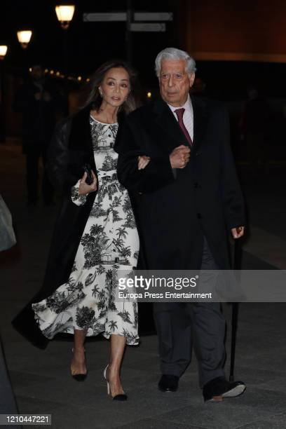 Isabel Preysler and Mario Vargas Llosa attend Placido Arango's mass funeral on March 04 2020 in Madrid Spain