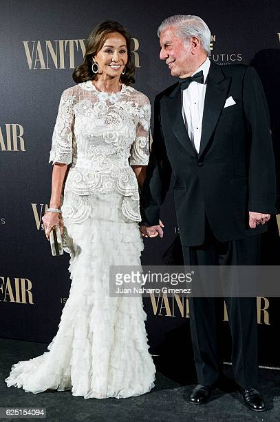 Isabel Preysler and Mario Vargas Llosa attend the gala dinner of Vanity Fair to commemorate its 100 number at Real Academia de Bellas Artes de San...