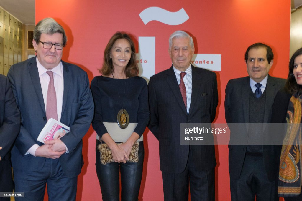 Isabel Preysler and Mario Vargas Llosa attend the tribute to Fernando de Szyszlo at the Instituto Cervantes in Madrid Spain. January 16, 2018