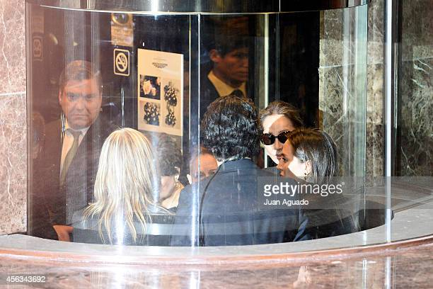 Isabel Preysler and Tamara Falco attend Parque San Isidro Cemetery following the death of Miguel Boyer on September 29 2014 in Madrid Spain Spanish...