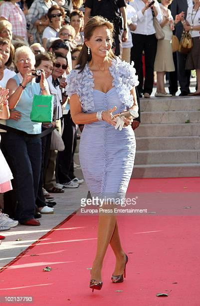 Isabel Preysler attends the wedding of Manuel Colonques, son of the president of Porcelanosa company, and Cristina Babiloni on June 11, 2010 in...