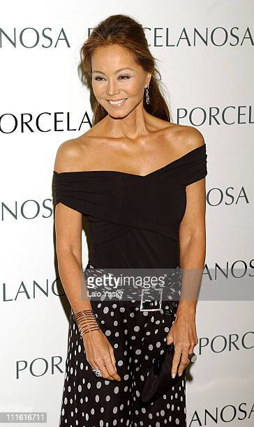Isabel Preysler during Kevin Costner and Christine Baumgartner at Porcelanosa Store Launch at Porcelanosa Store in Madrid Spain