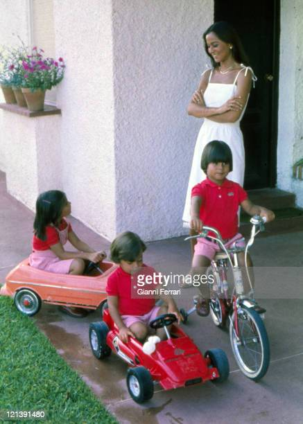 Isabel Preysler wife of Julio Iglesias at her home in Madrid with her three childrens Chaveli Enrique and Julio Jose Madrid Spain