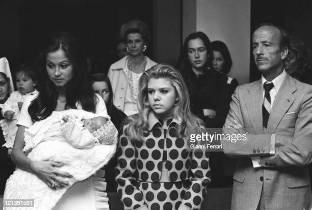 Isabel Preysler wife of Julio Iglesias at the christening of her second child Julio Jose being the godfather the Dr Iglesias Puga father of Julio...