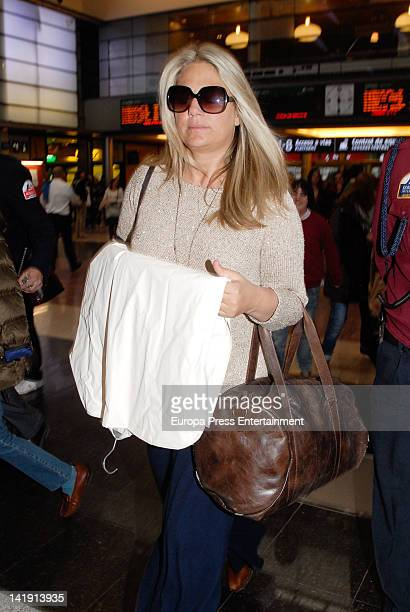 Isabel Sartorius is seen arriving at hotel before attending the wedding of Alvaro Fuster and Beatriz Mira at Hacienda Nadales on March 24 2012 in...