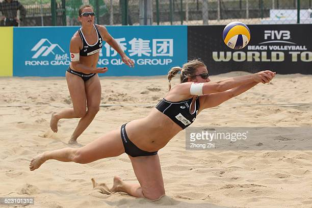 Isabel Schneider of Germany in action with Teresa Mersmann of Germany during the match against Lobato Herrero and Soria Gutirrez of Spain during the...