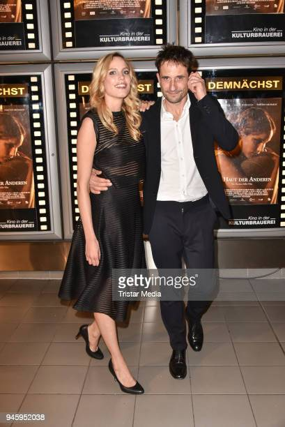 Isabel Thierauch and Oliver Mommsen during the premiere 'Die Haut der Anderen' at Kino in der Kulturbrauerei on April 13, 2018 in Berlin, Germany.