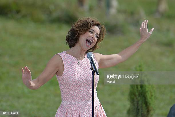 Isabel Varell performs during the recording of the TV Show 'ZDF Fernsehgarten' at Seiser Alm near Kastelruth on September 18 2013 in Kastelruth Italy