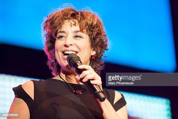 Isabel Varell presents onstage the 'SchlagerStarparade' at the KoenigPilsenerArena on November 8 2015 in Oberhausen Germany