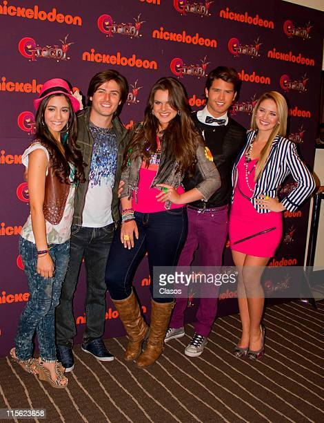 Isabela Castillo Andres Mercado Kimberly Dos Ramos Lance Dos Ramos and Sol Rodriguez during the presentation of TV show Grachi at W Hotel on June 8...