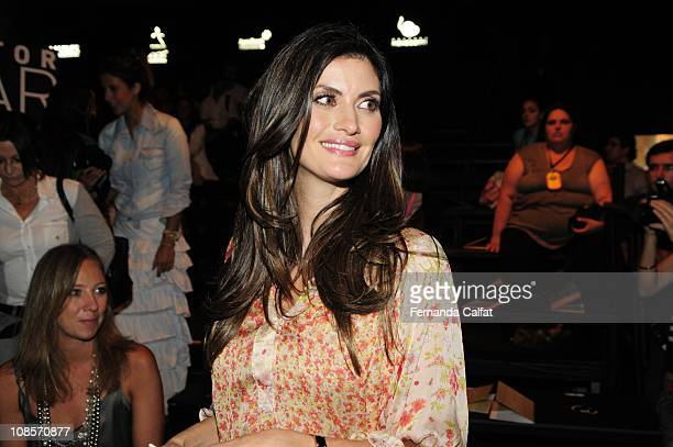 Isabela Fiorentino attends the Tufi Duek fashion show during the first day of Sao Paulo Fashion Week Fall 2011 at Ibirapuera's Bienal Pavilion on...