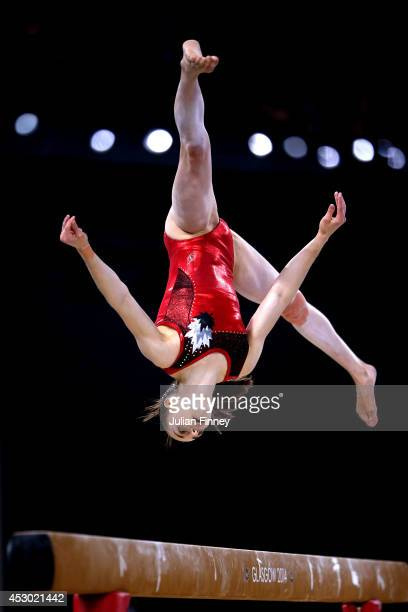 Isabela Maria Onyshko of Canada competes in the Women's Beam Final at SSE Hydro during day nine of the Glasgow 2014 Commonwealth Games on August 1...